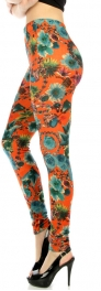 wholesale Q25 Flowers jewelery fur velour leggings OR/BU
