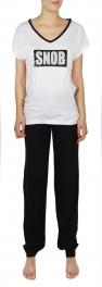 G45 Cotton SNOB wholesale pajaman set White/Black