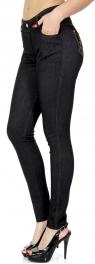 Wholesale A22BX0 Cotton blend embroidered pocket jeggings Black