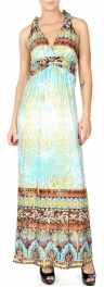 Wholesale K56C Gold foil filigree print racer back maxi dress PLUS SIZE BLUE