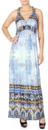 Wholesale K59A Gold foil filigree print racer back maxi dress BLUE