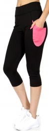 Wholesale A32 Colorblock side pocket capri leggings Pink